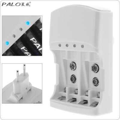 PALO 4 Slots Quick Battery Charger with Over Temperature Protection for AA / AAA / 9v / Ni-MH / Ni-Cd Batteries Support Different Battery Mixed Charging
