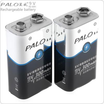 PALO 2pcs 9V 6F22 300mAh Ni-MH Rechargeable Battery with 3A Charging Current for Multimeter / Wireless Microphone / Alarm