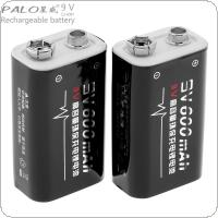 PALO 2pcs 9V 6F22 600mAh Li-ion Rechargeable Battery with 3A Charging Current for Multimeter / Wireless Microphone / Alarm