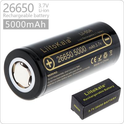 LiitoKala lii-50A 3.7V 26650 5000mAh Rechargeable Li-ion Battery with 20A Discharge Current for LED Flashlight / Headlamp / Electronic Cigarette