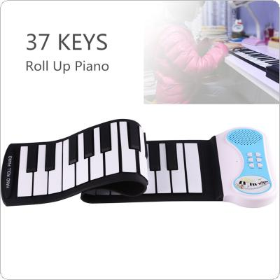 37 Keys Professional Silicon Flexible Hand Roll Up Piano Electronic Keyboard Organ Enlightenment Music Gift for Children Students Music Performance and Training