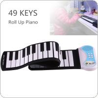 49 Keys Professional Silicon Flexible Hand Roll Up Piano Electronic Keyboard Organ Enlightenment Music Gift for Children Students Music Performance and Training