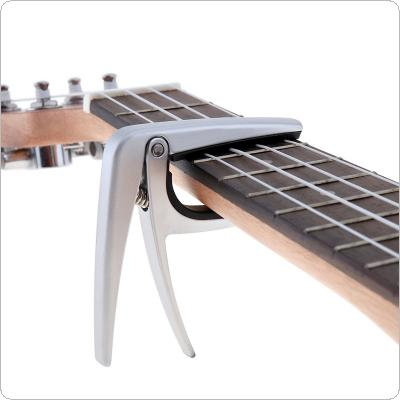 Zinc Alloy Ukulele Capo Silver Capo with High Grade Steel Spring and Perfect Silicon Cushion