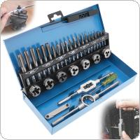32pcs/Set Alloy Steel Metric Tap & Die Set M3-M12 1st 2nd & Plug Finishing for Metalworking