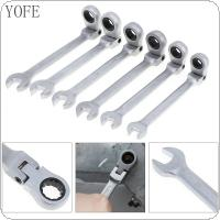 6pcs 8mm-13mm Adjustable Ratchet Wrench Combination Spanner Set with Flexible Ratchet Gear for Installation / Maintenance
