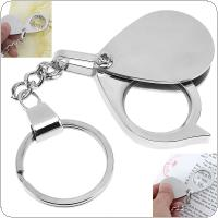 8X Metal Foldable Handheld Silver Optical Glass Magnifier Daily Loupe Tool with Key Chain for Reading and Inspection