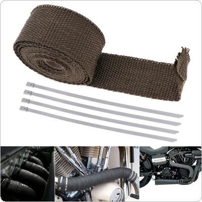 1 Set 5m x 50mm Exhaust Heat Thermo Wrap Insulation Pipe Tape Fireproof Cloth Roll Titanium Glass Fiber with 3 Stainless Ties for Car