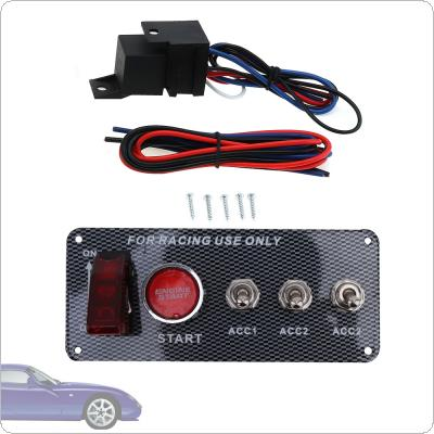 15cm Car Codification LED One Button Start with Light Ignition Carbon Fiber Panel Five In One Combination Switch