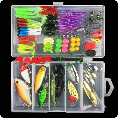 88pcs Almighty Fishing Lure Kit Hard Lures and Soft Baits Mixed Minnow Popper ViB Sequin Hook Accessories Box Support All Swimming Depth