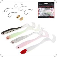 5pcs/lot Long Tail Luminous Soft Fishing Lure & Hook Combination Suit Abdomen Open Soft Bait with 2pcs Bullet Copper
