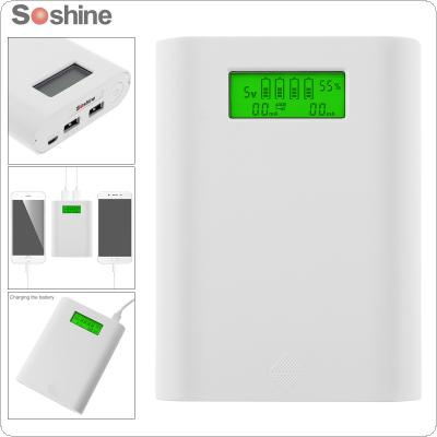 Soshine E3S 18650 Portable Power Source Bank with Dual USB + Battery Smart Charger with LCD Display for 18650 Battery
