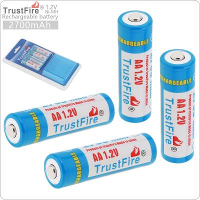 TrustFire 4pcs 1.2V 2700mAh AA R6 Ni-MH Rechargeable Batteries with Low Self-discharge + Portable Battery Box for Alarm / Clock / Wireless Mouse / Game Handle