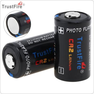 TrustFire 2pcs CR2 3V 750mAh Lithium Battery with Safety Relief Valve for Flashlight / Headlamp / Camera