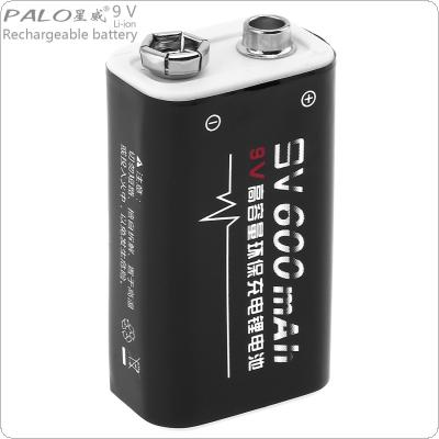 PALO 9V 6F22 600mAh Li-ion Rechargeable Battery with 1800 Cycle for Multimeter / Wireless Microphone / Alarm