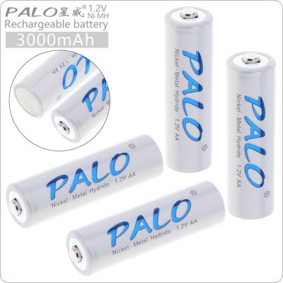 PALO 4pcs 1.2V AA R6 3000mAh Ni-MH Rechargeable Battery with Over Current Protection for Alarm / Clock / Wireless Mouse / Game Handle / Toy / Remote Control