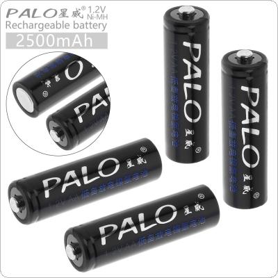 PALO 4pcs 1.2V AA R6 2500mAh Ni-MH Rechargeable Battery with Safety Relief Valve for Alarm / Clock / Wireless Mouse / Game Handle / Toy / Remote Control