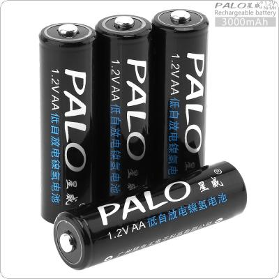 PALO 4pcs 1.2V AA 3000mAh Ni-MH Rechargeable Battery with 5A Charging Current for Remote Control / Toy / Camera