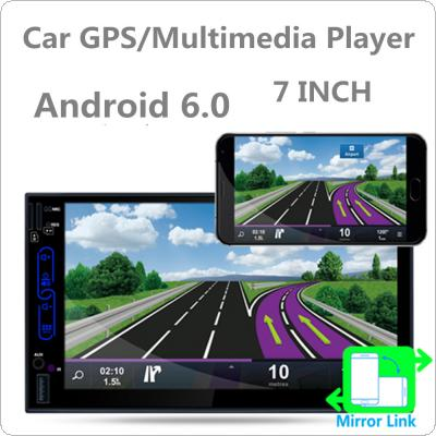 7 Inch Dual-core Android 6.0 2Din Bluetooth Car Radio Stereo Player 1024x600 Digital Touch Screen GPS Navigation AM / FM / RDS Radio Support Mirror Link