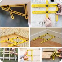 25cm Multifunction Folding Angle Measuring Ruler Four-sided Measuring Tool Angle Finder Protractor Layout Plastic Ruler Woodworking