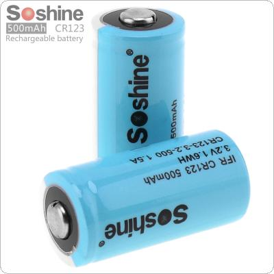 Soshine 2pcs IFR CR123 3.2V 500mAh LiFePO4 Rechargeable Battery with Low Self Discharge for Flashlight / Headlamp / Camera