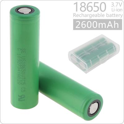 Soshine 2pcs 2600mAh IMR 18650 60A 3.7V 9.62WH VTC5 Rechargeable Li-ion Battery with Safety Relief Valve + Battery Box for Flashlights / Headlamps