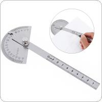 180 Degree 100mm Stainless Steel Protractor with Scale and Fixing Screw for Angle and Length Measuring / Architectural Designing