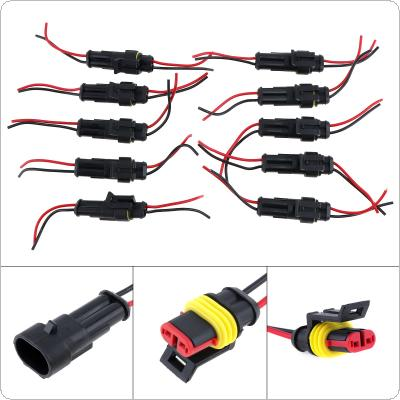 10pcs/set 2 Pin Male & Female Waterproof Electrical Connector Plug for Car / Motorcycle