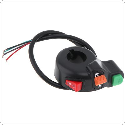 12V 2.2cm Steering Lamp Horn Headlight Multi-function Control Refit Three in One Combination Switch for Motorcycle / ATV