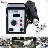 Kaisi-858D 220V 700W SMD Hot-Air Soldering Station Support LED Digital Display and Controllable Temperature for Desoldering + 3 Air Nozzles