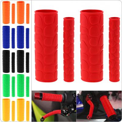 1 Pair 106 MM Soft TRP Motorcycle Handle Grips with Pattern and 2 Pcs Handbrake Covers for Motorcycle