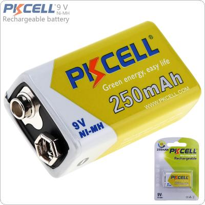 Pkcell 9V 6F22 250mAh Ni-Mh Rechargeable Battery with 1000 Cycle for Multimeter / Wireless Microphone / Alarm