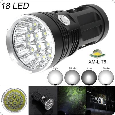 Super Bright 18x XM-L T6 LED 5400Lumens Aluminum Waterproof Flashlight Torch with 4 Modes Light Support 18650 Rechargeable Battery for Backpacking / Fishing