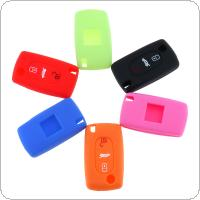 6 Colors 3 Buttons Silicone Folding Car Key Cover for Citroen C2 / C3 / C4 and Picasso Xsara C5 / C6 / C8