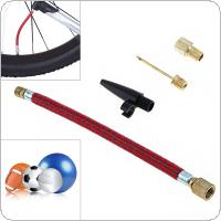 4pcs/set Portable MTB / Road Bicycle Inflator Extension Tube with Pump Adaptor Kit Valve for Bicycle / Football / Airbed