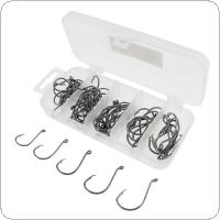 75pcs/set Mixed Size 1# 1/0# 2/0# 3/0# 4/0# High Carbon Steel Fishing Hook Sets Black Nickel with Lure Plastic Box