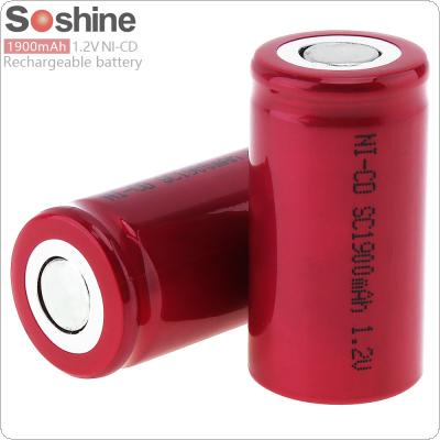 Soshine 2pcs 1.2V NI-CD SC 1900mAh Rechargeable Flat Head Battery for Screwdriver / Drill
