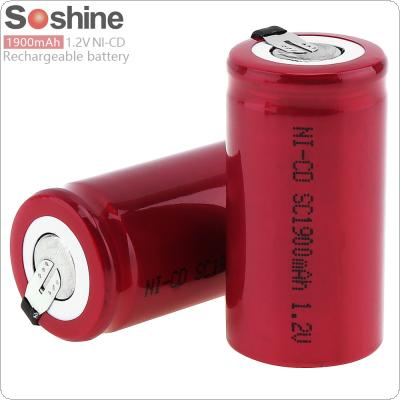 Soshine 2pcs 1.2V NI-CD SC 1900mAh Rechargeable Battery with Nickel Sheet for Screwdriver / Drill