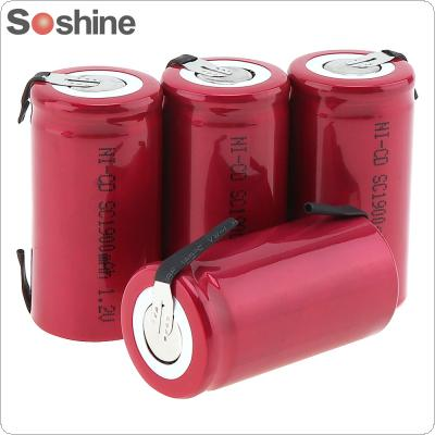 Soshine 4pcs 1.2V NI-CD SC 1900mAh Rechargeable Battery with Nickel Sheet for Screwdriver / Drill