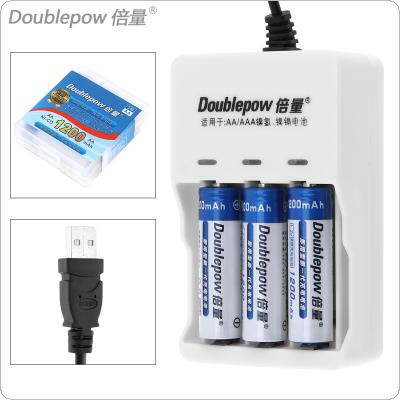 Doublepow 3 Slots USB Charger with LED Indicator+ 3pcs Ni-CD AA 1200mAh Rechargeable Batteries + Portable Battery Box