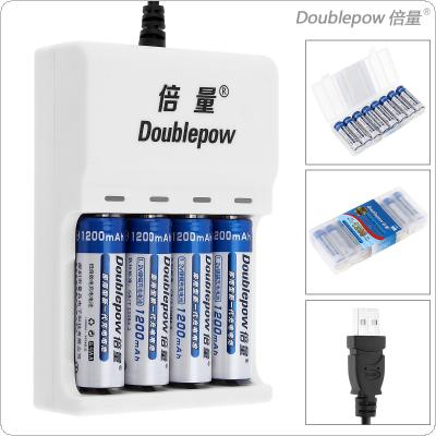 Doublepow 4 Slots USB Charger with LED Indicator + 8pcs Ni-CD AA 1200mAh Rechargeable Batteries + Portable Battery Box