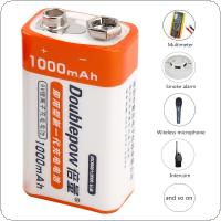 Doublepow 2pcs 9V 1000mAh Li-ion LSD Rechargeable Battery with 1200 Cycle for Multimeter / Wireless Microphone / Alarm