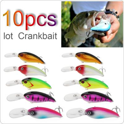 10pcs 3D Eyes Colorful Fishing Crankbait Hard Lure 14g 10cm Lure with Treble Hook for Bass Fishing Tackle