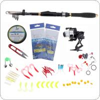 56pcs 1.8m Fishing Rod and 500 Reel Combo Lure Fishing Set with Various Baits and Accessories for Saltwater / Freshwater Fishing
