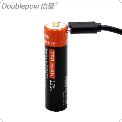 Doublepow 3.7V 14500 750mAh Li-ion Rechargeable Battery Actual Capacity with USB DC Charging Intelligent Cell for Headlamp / Electronic Products