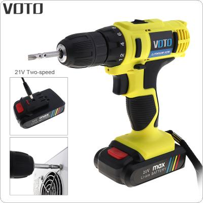VOTO AC 100 - 240V Cordless 21V Electric Screwdriver / Drill with Lithium Battery and Two-speed Adjustment Button for Handling Screws / Punching