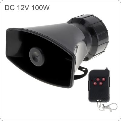 12V 100W 7 Sound Loud Car Warning Alarm Police Fire Siren Horn Speaker with Black Remote Controller
