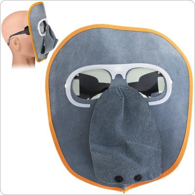 Comfortable Foldable Cow Leather Welding Helmet Automatic Variable Light Welding Mask with Sunglasses for Various Welding