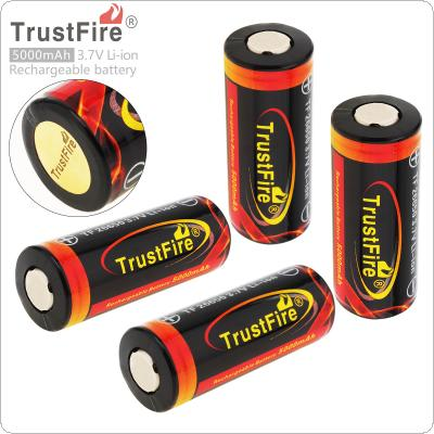 4pcs TrustFire 3.7V 26650 High Capacity 5000mAh Li-ion Rechargeable Battery with Protected PCB for LED Flashlights Headlamps