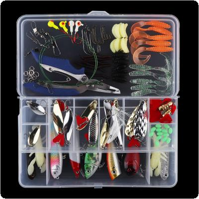 108pcs Artificial Fishing Lure Kit Include Hard Lure Minnow / Popper Soft Bait with Luminous Lead Hooks Box for Sea / Freshwater Fishing