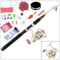 15pcs 2.4m Fishing Rod Reel Combo Full Kit Telescopic Spinning Pole Lure Line Hook Track Tool Set for Ocean Fishing
